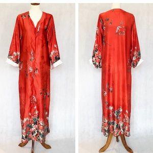 Natori Orange Floral Pattern Caftan